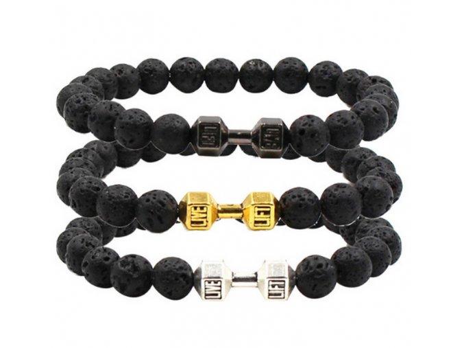Náramek z lávových kamenů black CB000040 (Barva Zlatá)