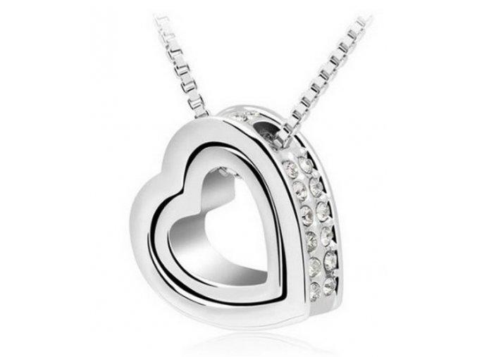 Řetízek s přívěskem Double hearts silver PN000083 (Barva Tyrkysová)