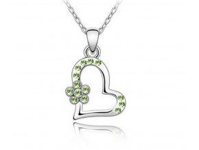 Řetízky s přívěskem srdce s kytičkou PN00031 (Barva Zelená)