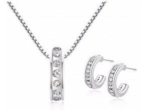 Set náušnic a řetízku s přívěskem Diamonds Round 426508