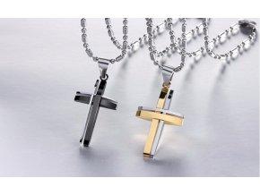 Řetízek s přívěskem kříže z chirurgické oceli PN000106