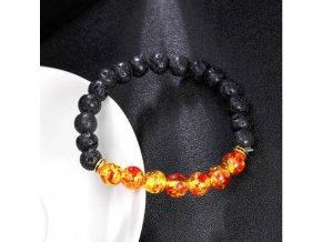 Náramek z lávových kamenů -oranžový SSB00007