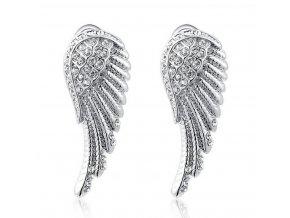 Náušnice Andělská křídla ve stříbrném provedení z chirurgické oceli a zirkony SE000049