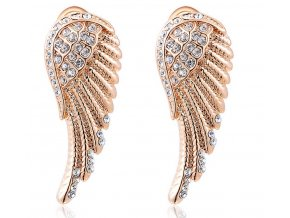 Náušnice Andělská křídla v bronzovém provedení z chirurgické oceli a zirkony SE000050