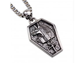 491401 nahrdelnik s priveskem pharaonskeho psa egypt z chirurgicke oceli pn0000120