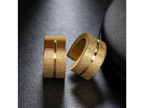 Kruhové pískované náušnice z chirurgické oceli- 2 barvy SE000057 (Barva Zlatá)