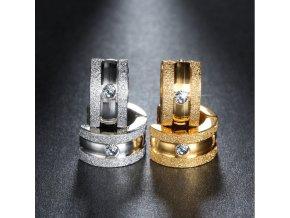 Náušnice z chirurgické oceli kruhové se zirkonem SE000058 (Barva Zlatá)
