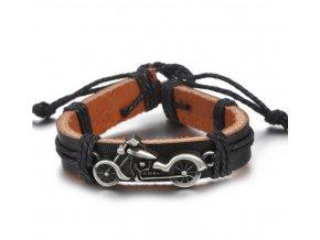 Náramek z pravé kůže s přívěskem motorky z chirurgické oceli SSB00046 (Barva Stříbrná)