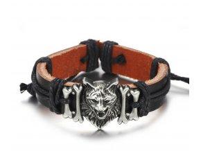 Náramek z pravé kůže s přívěskem lví hlavy z chirurgické oceli SSB00047 (Barva Stříbrná)