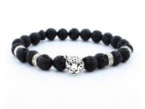 Náramek z lávových kamenů leopard- stříbrný SSB00054