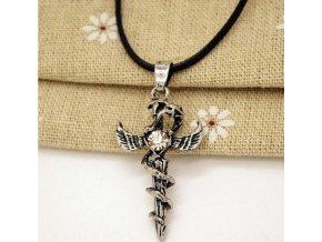 Náhrdelník s křížem z chirurgické oceli a zirkonem  PN0000130