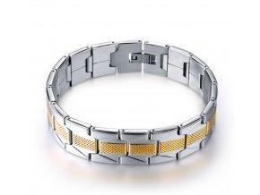 Náramek z chirurgické oceli -stříbrno-zlatý CB000089