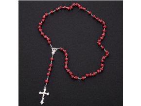 Tradiční křesťanský růženec z bižuterních kovů osazen dřevěnými korálky- 4 barvy PN0000132
