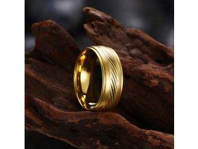 Prsten ve zlaté barvě z chirurgické oceli Scraped SR00014 (Velikost 9)