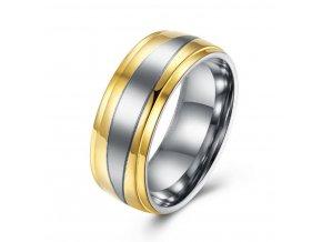 Prsten z chirurgické oceli stříbrnozlatý SR000015 (Velikost 9)