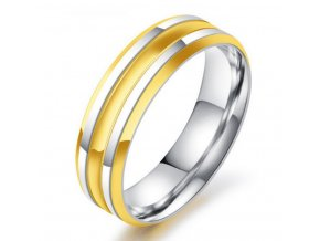 Prsten z chirurgické oceli Decent stříbrnozlatý SR000016 (Velikost 9)