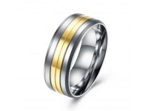 Prsten z chirurgické oceli Coloro- stříbrnozlatý SR000017