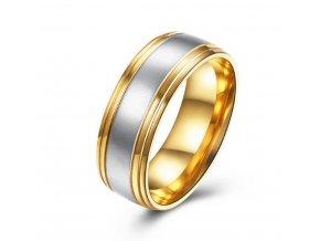 Prsten z chirurgické oceli Duo- stříbrnozlatý SR000018 (Velikost 9)