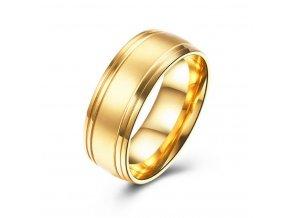 Prsten z chirurgické oceli- Gold SR000019 (Velikost 9)