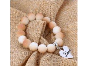 Korálkový náramek s přívěskem z chirurgické oceli LOVE SSB00068 (Barva Oranžová)