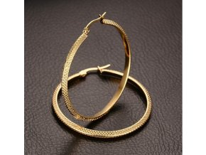 Náušnice kruhy z chirurgické oceli ve zlatém provedení stripy SE000067
