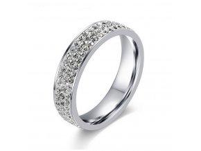 Dámský prsten z chirurgické oceli se zirkony- stříbrná elegance SR000021 (Velikost 9)
