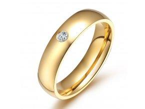 Dámský prsten z chirurgické oceli se zirkonem v imitaci diamantu- zlatý SR000022 (Velikost 9)