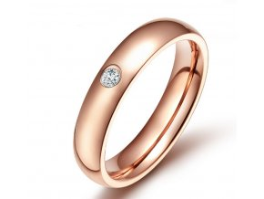 Dámský prsten z chirurgické oceli se zirkonem v imitaci diamantu- bronzový SR000024 (Velikost 9)