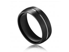 Prsten z broušené chirurgické oceli Line- černý SR000026