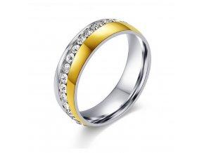 Dámsky prsten Coloro z chirurgické oceli se zirkony- stříbrnozlaté provedení SR000028 (Velikost 9)