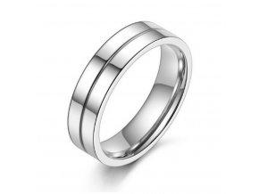 Prsten z leštěné chirurgické oceli stříbrný SR000030 (Velikost 9)