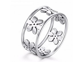 Dámský prsten z chirurgické oceli s květinami- stříbrný SR000033