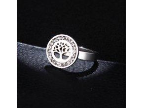 Dámský prsten z chirurgické oceli- Strom života se zirkony- stříbrný SR000035 (Velikost 9)