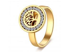 Dámský prsten z chirurgické oceli- Strom života se zirkony- zlatý SR000036 (Velikost 9)