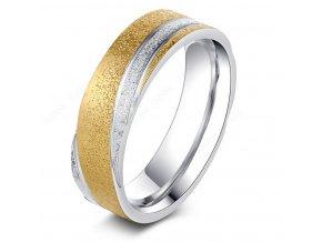 Zlato-stříbrný prsten z pískované chirurgické oceli- Twisted SR000039