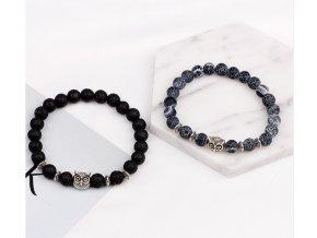 Korálkový náramek z lávových kamenů se sovou z chirurgické oceli SSB00069- 2 barvy (Barva Modrá)