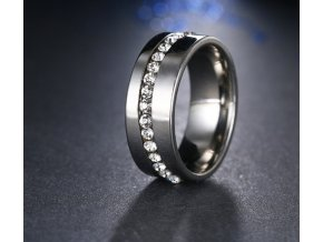 Stříbrný prsten z chirurgické oceli se zirkony- Twisted style SR000040