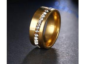 Zlatý prsten z chirurgické oceli se zirkony - Twisted style SR000041