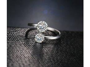 Stříbrný, netradiční prsten z chirurgické oceli a 2. zirkony SR000042 (Velikost 9)