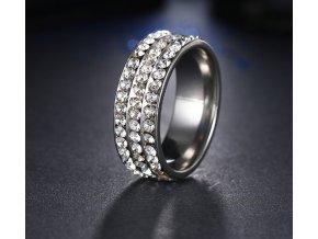 Stříbrný prsten z chirurgické oceli s malými zirkony čiré barvy- 8 mm SR000044