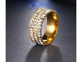 Zlatý prsten z chirurgické oceli s malými zirkony čiré barvy- 8 mm SR000045