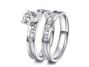 Dvojitý prstýnek z chirurgické oceli ve stříbrném provedení se zirkony SR000046 (Velikost 9)