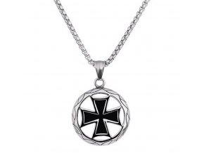 Stříbrný náhrdelník s přívěskem z chirurgické oceli- Maltézský kříž PN0000135