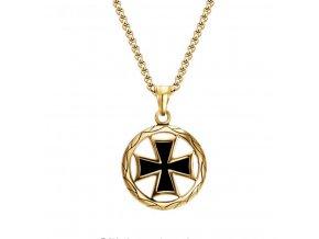 Zlatý náhrdelník z chirurgické oceli- Maltézský kříž PN0000136