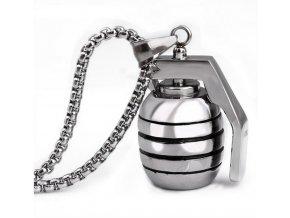 Náhrdelník granát z chirurgické oceli- stříbrný PN0000138