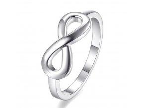Prsten nekonečno z rhodiované bižuterie ve stříbrném provedení- Infinity SR000050 (Velikost 9)