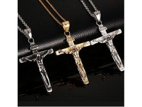 Náhrdelník- Ukřižovaný Ježíš z chirurgické oceli- 3 barvy PN0000139/CER (Barva Zlatá)