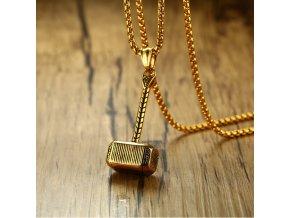 Náhrdelník Thorovo kladivo z chirurgické oceli- zlatý PN0000141