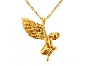 Náhrdelník - Andělíček z chirurgické oceli- 2 barvy PN0000142 (Barva Zlatá)