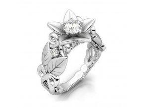 Dámský prsten z motivem růže z rhodiované bižuterie SR000051
